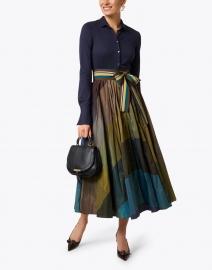 Sara Roka - Multicolored Striped Wide Satin Ribbed Belt