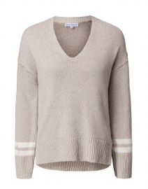 Oyster Cotton Sweater with Stripe Cuff