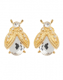 Gold and Crystal Bee Clip Stud Earring