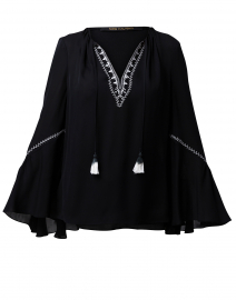 Solana Black Silk Embroidered Blouse