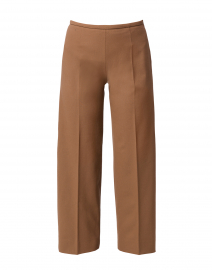 Amandine Camel Stretch Wool Wide Leg Ankle Pant
