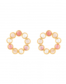 Daisy Pink Quartz and Pearl Circle Stud Earrings