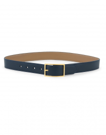 Blue and Beige Smooth Reversible Leather Belt