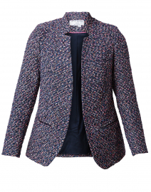 Navy Tweed Notched Longline Jacket