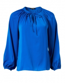 Caprice Cobalt Blue Hammered Silk Peasant Blouse
