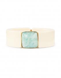 White Enamel Blue Stoned Hinge Cuff Bracelet