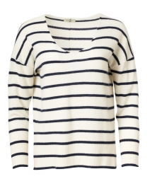 Ivory and Navy Striped Cashmere Sweater