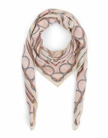 Light Pink Saddle Printed Silk Cashmere Scarf
