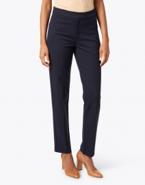 Ecru - Lombard Navy Slim Leg Stretch Trouser