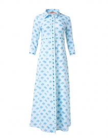 Blue Capella Print Cotton Voile Shirt Dress