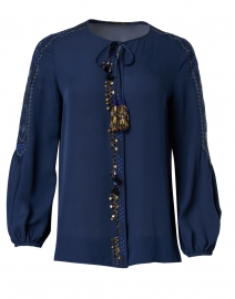 Meave Blue Embroidered Silk Blouse