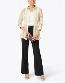 Gretchen Scott - Gold Lame Button Down Topper Jacket