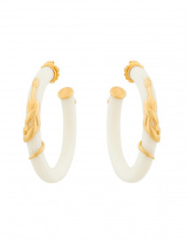 White Resin Gold Cobra Hoop Earrings
