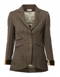 Brown and Beige Herringbone Tweed Jacket