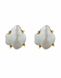 Grey Faux Pearl Clip On Earrings