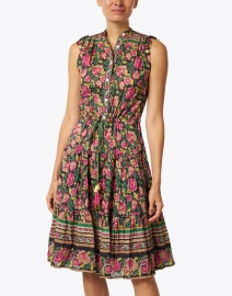 Bell - Paula Green and Pink Floral Silk Cotton Voile Dress