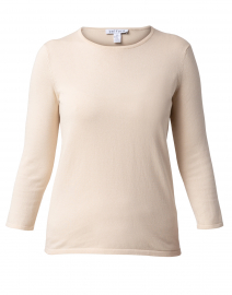 Almond Beige Crew Neck Cotton Sweater