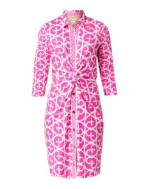 Fuchsia and White Gate Printed Twist Front Dress