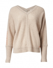 The Stitch Beige Ribbed Merino and Cashmere Sweater
