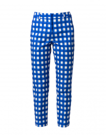 Canard Blue and White Gingham Stretch Cotton Pant