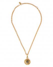 Labradorite Medallion Gold Pendant Necklace