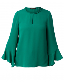 Ara Emerald Silk Blouse with Ruffle Sleeve