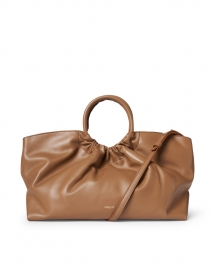 Los Angeles Camel Leather Ruched Tote