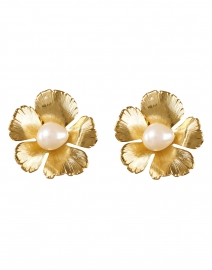 Gold and Pearl Small Flower Clip-On Earrings