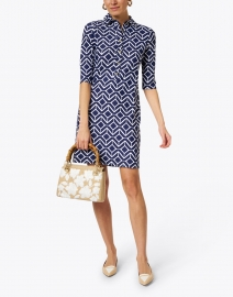 Jude Connally - Susanna Navy and White Geometric Printed Henley Dress