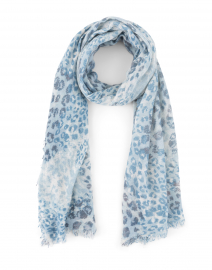Blue Animal Printed Cashmere Scarf