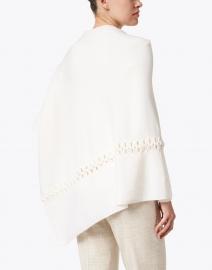 Kinross - White Cashmere Twist Stitch Poncho