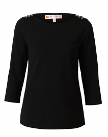 Lyndsey Black Ponte Top with Shoulder Buttons