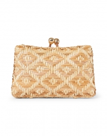 Charlotte Light Honey Diamond Wicker Embroidered Clutch