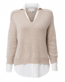 Beige Sweater with White Underlayer
