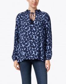 Sail to Sable - Blue Leaf Print Top with Tassels