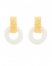 White Enamel Gold Doorknocker Clip Earrings
