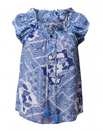 Gianna Mosaic Batik Blue Peasant Top