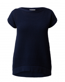 Navy Mesh Cotton Sweater