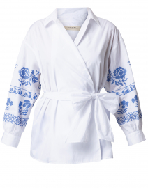 Grado White Embroidered Cotton Wrap Shirt