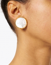 Nest - Mother of Pearl Clip Earrings