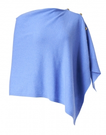 French Blue Cashmere Ruana with Gold Button Detail