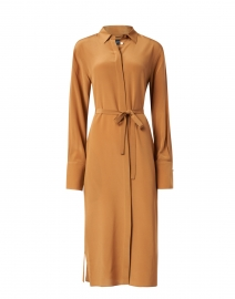 Dold Cognac Silk Shirt Dress