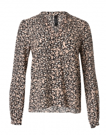Beige and Black Floral Printed Blouse