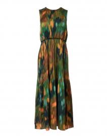 Levana Emerald Multi Print Hammered Satin Dress