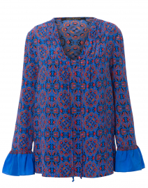 Zoey Blue and Orange Valencia Printed Silk Blouse