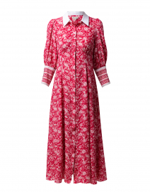 Calla Rose Red Floral Silk Shirt Dress