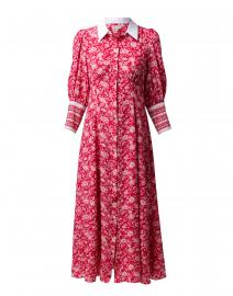 Calla Rose Red Floral Silk Shirt Dress