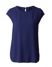 Indigo Blue Blouse with Back Pleat Detail