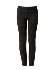 Navy and Camel Tartan Compact Knit Pant