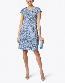Peserico - Blue and White Painted Print Stretch Cotton Dress